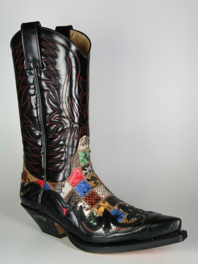 17fee48589 Boots By Boots - 3241 Sendra Cowboystiefel Flor. Negro Python Patchwork -  Men