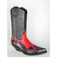 3241 Sendra Cowboystiefel Negro Rojo