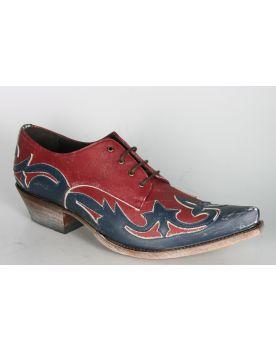 10066 Sendra Mezcal Schuhe Raspado Azul Rojo