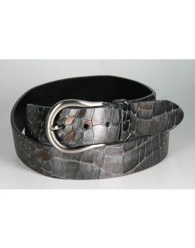 2062 Ledergürtel Brave Heart Reptil Grau Metallic