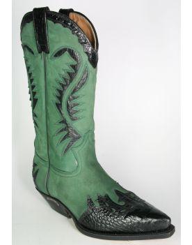 2535 Sendra Cowboystiefel Coco Negro N. Verde