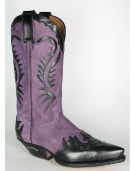 2535 Sendra Cowboystiefel Flor. Negro Nubuk Lila