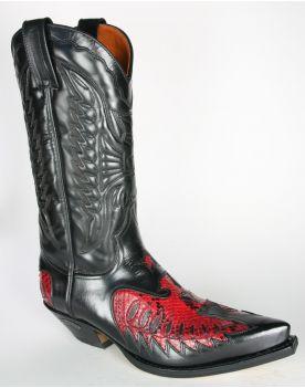 2720 Sendra Cowboystiefel Cuervo Flor. Negro Python Rojo