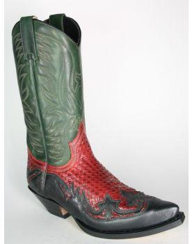 3241 Sendra Boots Cowboystiefel Barbados Negro Trenzado Rojo