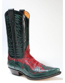 3241 Sendra Cowboystiefel Flor. Verde Python Barr. Rojo