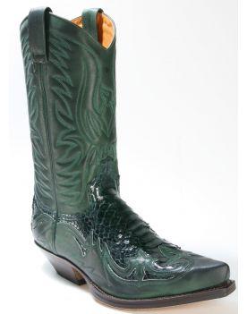 3241 Sendra Cowboystiefel Salvaje Forest Python Barr. Verde