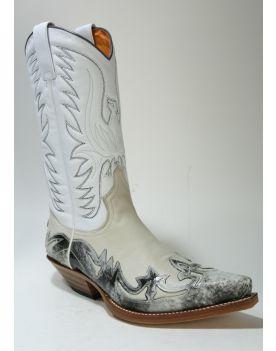3241 Sendra Cowboystiefel Flora Blanco Dirty Carvalo