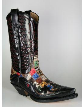 3241 Sendra Cowboystiefel Flor. Negro Python Patchwork small