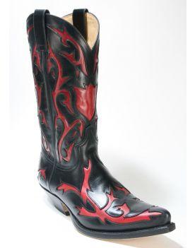 5059 Sendra Boots Cowboystiefel Ciclon Negro Rojo