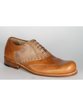6001 Hobo Halbschuhe Saddleshoe Caramel Safari Brushed