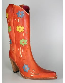6349 Sendra Cowboystiefel Orange Flower