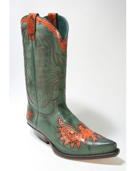 7106 Sendra Boots Cowboystiefel N. Verde Python Orange