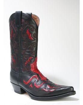 7428 Sendra Cowboystiefel JAVI Negro Python Rojo