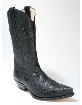 7490 Sendra Cowboystiefel Negro Python Negro