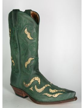 7490 Sendra Cowboystiefel N. Brash Verde Python Natural