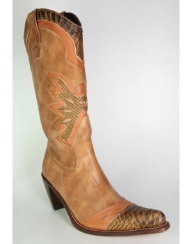 8241 Cowboystiefel Sancho Braun Python Imitation