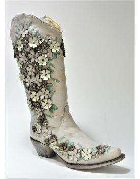 A3600 Corral Boots Cowboyboots White Flower