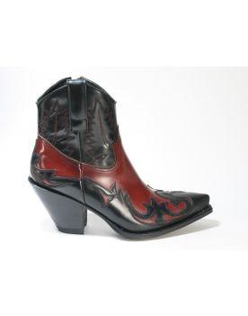 16695 Sendra Boots GORCA Flora Negro Flora Rojo Dirty