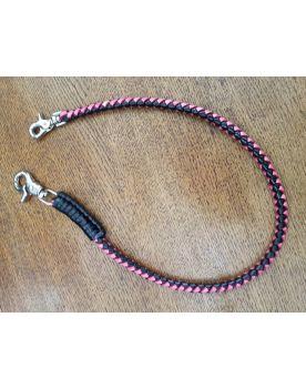 2019-4 Lederkette Wallet Chain schwarz pink