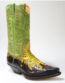 3241 Sendra Boots Cowboystiefel Negro Python Barr. Amarillo
