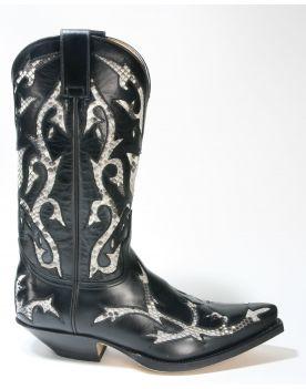 5059 Sendra Boots Cowboystiefel Ciclon Negro Python Blanco