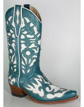5529 Sendra Cowboystiefel Judy Petrol Blanco