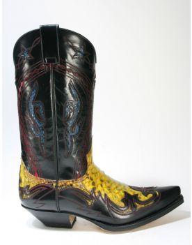 6033 Sendra Boots Flora Negro Python Amarillo