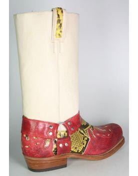 6074 Sancho Bikerboots Quersia Rojo Python gelb