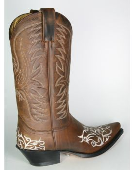 6754 Sendra Cowboystiefel braun Stickung