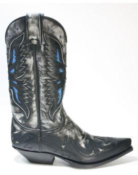 6885 Sendra Boots Cowboystiefel Negra Flora Blanco
