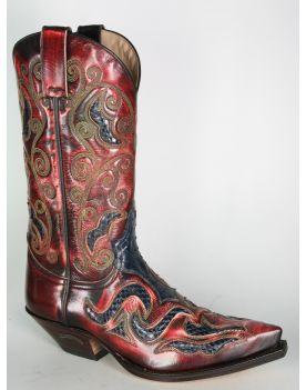7428 Sendra Cowboystiefel Denver Rojo Python Azul